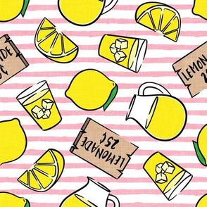 lemonade stand - lemons summer - pink stripes - LAD20