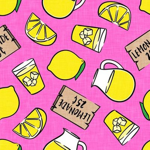 lemonade stand - lemons summer - hot pink - LAD20