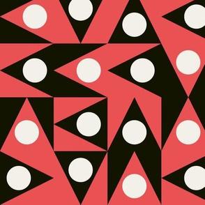Triangles Discs Deco Geo, black, coral red