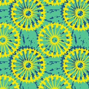 Tie Dyed spirals green_blue_yellow