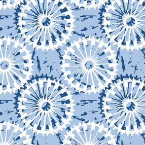 Tie Dyed spirals navy_white on lt blue