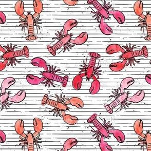 (small scale) lobsters - watercolor & ink nautical summer - multi colored pink and red on stripes - LAD20