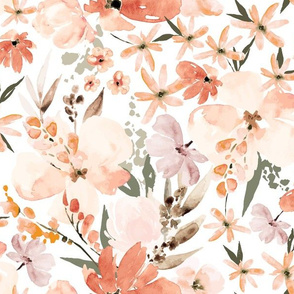 Earth tone floral summer peach apricot