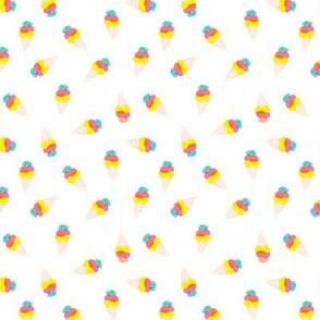 Watercolor ice ream cones neon bright pop color illustration candy SMALL