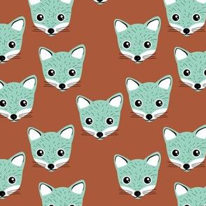 Adorable baby fox animal portrait woodland theme Scandinavian modern rusty copper mint neutral SMALL