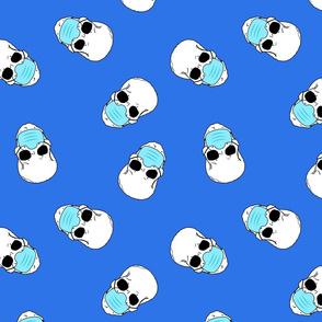 skulls in medical masks blue