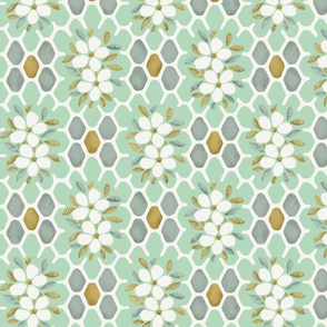 Honeycomb Floral- Mint