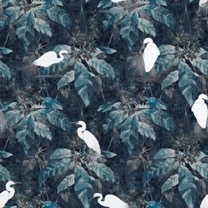 Tropical Cranes- Indigo