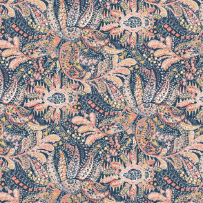Eclectic Paisley- Navy and Coral