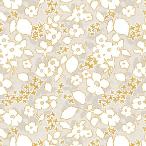 Floral Silhouette- Gold and Grey