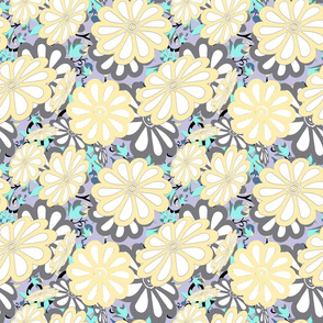 daisies on leaves cutouts sm yellow lilac
