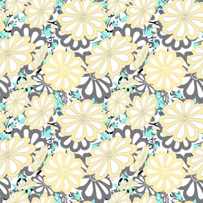 daisies on leaves cutouts sm yellow- gray- white