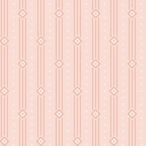 Copper Pink Summer Stripe: Shell Pink Diamond Stripe, Thin Geometric Stripe