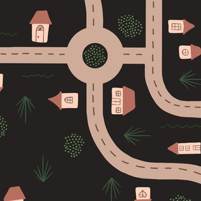 Roads and Tiny Houses - Dark background