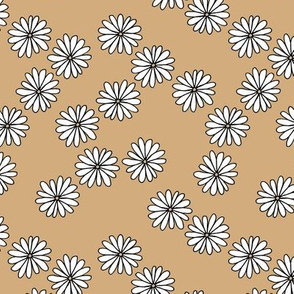 Little Scandinavian daisy garden boho spring daisies in trend colors ginger beige yellow