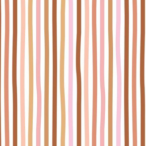 Irregular hand drawn stripes boho summer breton marine Parisian style minimal basic vertical rust copper pink spring palette