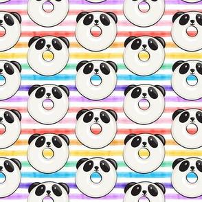 (small scale) panda donuts - cute panda (rainbow stripe) C20BS