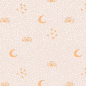 Boho universe sun moon and stars lunar magic summer spots Scandinavian style nursery beige sand honey yellow