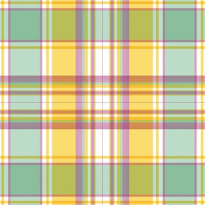 Goldenrod, Mint and Rose Plaid by Paducaru