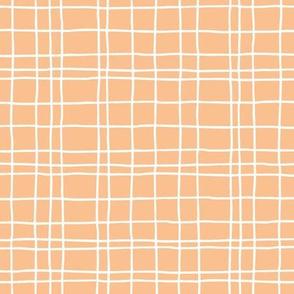 Abstract geometric stripes and stroked hand drawn grid design minimal Scandinavian boho trend nursery soft orange