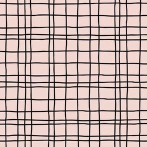 Abstract geometric stripes and stroked hand drawn grid design minimal Scandinavian boho trend nursery sandy pink beige