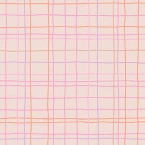 Abstract geometric stripes and stroked hand drawn grid design minimal Scandinavian boho trend nursery peach pink girls