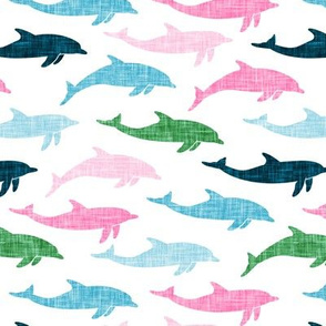dolphins -  nautical summer beach - multi pink & green - LAD20