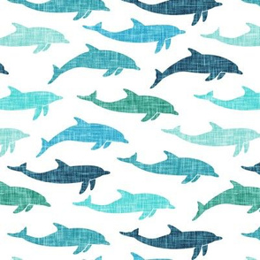 dolphins - nautical summer beach -multi teal - LAD20