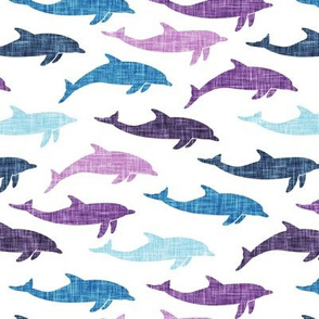 dolphins - nautical summer beach - purple and blue - LAD20