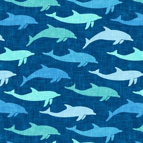 dolphins - nautical summer beach -multi blue on blue - LAD20