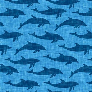 dolphins - nautical summer beach - blue on blue - LAD20