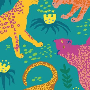 Larger Scale - Jungle Cat Party in Vivid Green