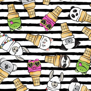 animal ice cream cones - summer ice creams - black stripes - LAD20