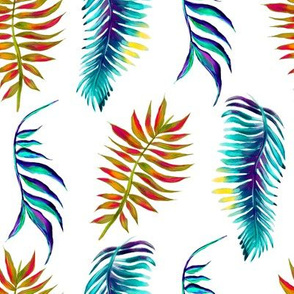Hand drawn tropical leaves  watercolor seamless pattern