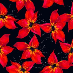 Hand drawn black and red tropical watercolor seamless pattern