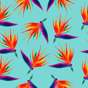 Hand drawn orange tropical flowers watercolor seamless pattern