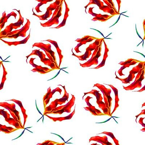 Hand drawn red tropical  flowers watercolor seamless pattern
