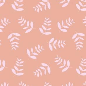 Boho island vibes tropical palm leaves minimal garden print nursery peach pink girls