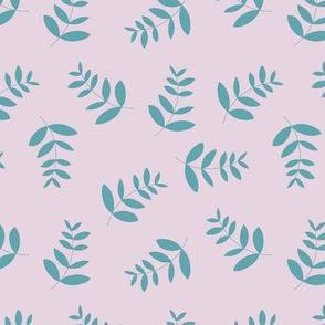 Boho island vibes tropical palm leaves minimal garden print nursery lilac blue
