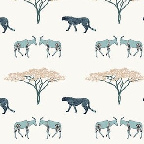 Two antelopes, cheetah, tree