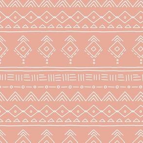 Minimal boho mudcloth bohemian ethnic abstract indian summer aztec design nursery gender neutral soft moody pink orange SMALL