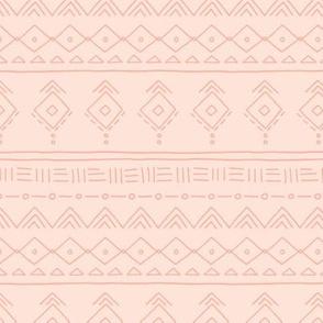 Minimal boho mudcloth bohemian ethnic abstract indian summer aztec design nursery gender neutral soft pale peach pink orange SMALL