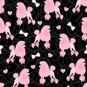 Poodles Bows and Hearts Pink Coats Black