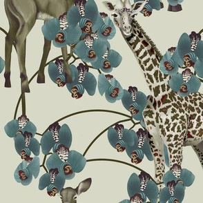 Blue orchid, giraffe and young antelope
