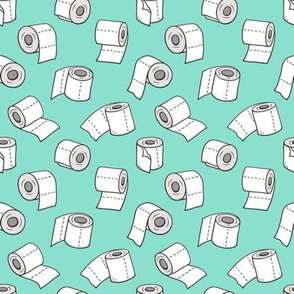 Trendy Toilet Paper Tissue Rolls on Mint Green Smaller 1,5 inch