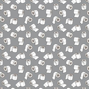 Trendy Toilet Paper Tissue Rolls on Grey Tiny Small