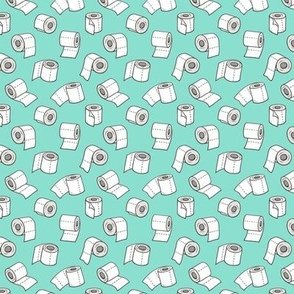 Trendy Toilet Paper Tissue Rolls on Mint Green Tiny Small