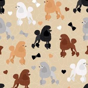 Poodles Bows and Hearts Mixed Coats Tan