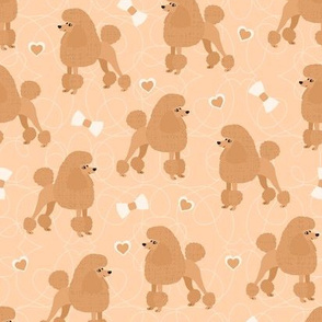 Poodles Bows and Hearts Apricot Coats