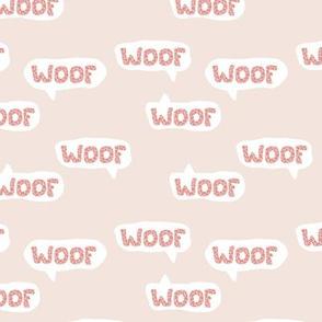 Dog lovers animal print leopard woof barking puppy text design typography beige pink